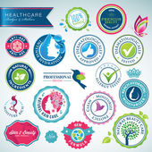 Set of health care badges and stickers — Vector de stock