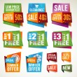 Stock vektor: Set of sale labels and banners