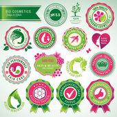 Kozmetik rozetleri ve etiketler kümesi — Stok Vektör