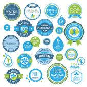Zestaw woda znaczki i naklejki — Wektor stockowy