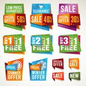 σύνολο πώληση ετικέτες και διαφημιστικά πλαίσια — Διανυσματικό Αρχείο
