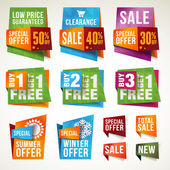 Försäljning etiketter och banners — Stockvektor