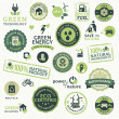 Set of labels and elements for green technology — Imagen vectorial