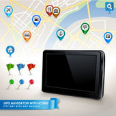GPS navigator with city map and set of GPS icons — Stock Vector
