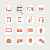 Set di icone di dispositivi elettronici — Vettoriale Stock