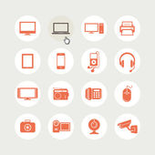 Set of electronic devices icons — Vector de stock