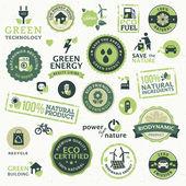 Ensemble d'étiquettes et d'éléments pour les technologies vertes — Vecteur