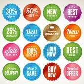Aantal badges en stickers — Stockvector