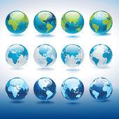 Uppsättning vektor globe ikoner — Stockvektor