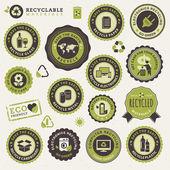 Set di etichette e adesivi per il riciclaggio — Vettoriale Stock