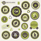 Set of labels and stickers for recycling — Stock Vector