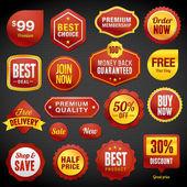 Conjunto de vetor emblemas e adesivos — Vetorial Stock