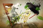 Büyülü dünyasına boyama — Stok fotoğraf