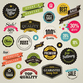 Set of stickers and ribbons — Stockvector