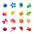 Colorful nature icon set - Stok Vektör