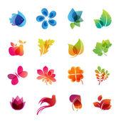 красочная природа икона set — Cтоковый вектор