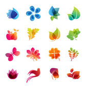 Kleurrijke natuur pictogrammenset — Stockvector