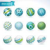 Set di icone globo astratto — Vettoriale Stock