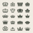 Set of crown icons — Stock Vector