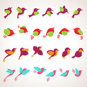 Sada ikon ptáků — Stock vektor