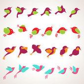 Set van vogels pictogrammen — Stockvector