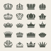 Set of crown icons — Vector de stock
