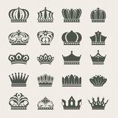 Zestaw ikon korony — Wektor stockowy