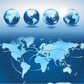 Mondo trasporti e logistica con globi di terra — Vettoriale Stock