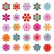 Set of colorful flower icons — Stock Vector