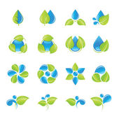 Water and leaves icon set — Stock Vector