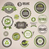 Organik rozetleri ve etiketler kümesi — Stok Vektör