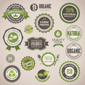 Set of organic badges and labels — Stok Vektör