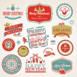 Stock Vector: Set of labels and elements for Christmas and New Year