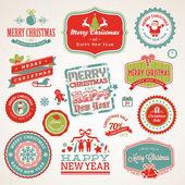 Satz von etiketten und elemente für weihnachten und neujahr — Stockvektor