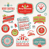 Set of labels and elements for Christmas and New Year — Vecteur