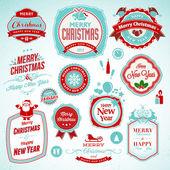 新年とクリスマスのためのバッジのステッカー セット — ストックベクタ