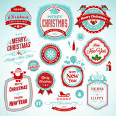 Set of stickers and badges for New Year and Christmas — Stock Vector