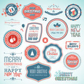 Set of stickers and elements for Christmas and New Year — Stock Vector