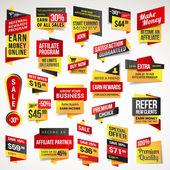 Juego de pegatinas y pancartas — Vector de stock