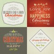 Set of vintage styled Christmas and New Year cards — Imagens vectoriais em stock