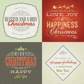 набор винтажном стиле рождество и новый год карты — Cтоковый вектор