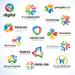 Set of abstract business icons - Stock Vector
