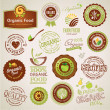Set of organic food labels and elements - Stok Vektör