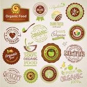 Set di etichette alimentari organici ed elementi — Vettoriale Stock