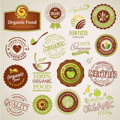 Set of organic food labels and elements — Vector de stock
