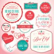 Set of badges and elements for Valentine`s day — Stock vektor