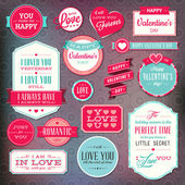 Set of stickers and badges for Valentine`s day — Stockvector