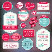 Set van stickers en badges voor valentijnsdag — Stockvector