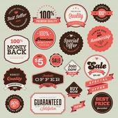 Set di etichette e distintivi d'epoca — Vettoriale Stock