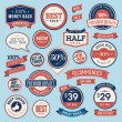 Set of vintage badges and ribbons — Stock Vector #20074461